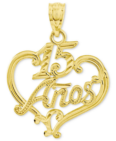 14k Gold Charm, Diamond-Cut 15 Anos Heart Charm