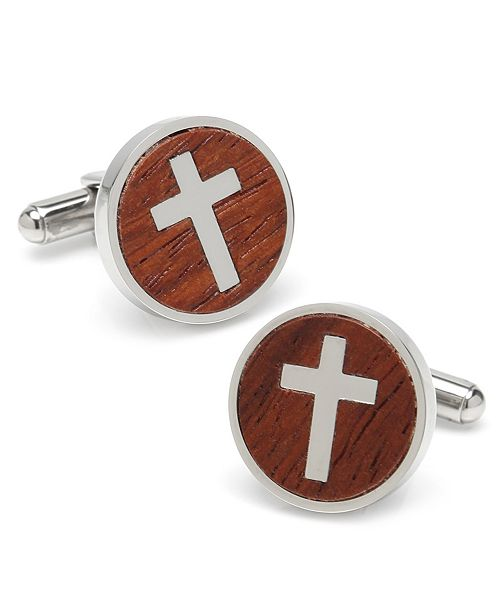 Ox & Bull Trading Co. Ox Bull Trading Co Cross Round Wood Cufflinks