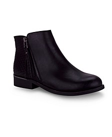 Amaretto Ankle Bootie with Croc-Embossed Detail
