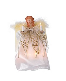 10-Light 9-Inch Ivory and Gold Angel Treetop