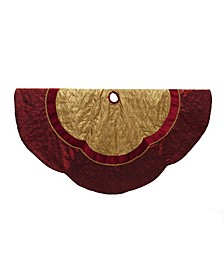72-Inch Red and Gold Criss-Cross Scallop Treeskirt