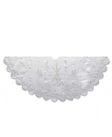 48-Inch Silver Hand Embroidery Treeskirt
