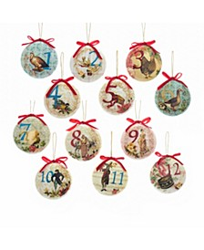85mm Decoupage Ball Ornament Set of 12