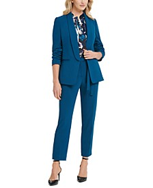 Ruched-Sleeve Open-Front Jacket, Tie-Neck Pleated Top & Belted Ankle Pants