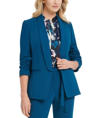 Ruched-Sleeve Open-Front Blazer