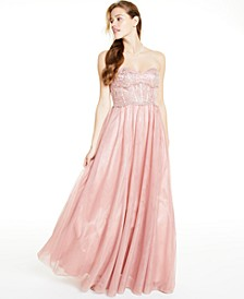 Juniors' Strapless Mesh Gown