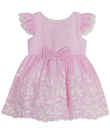 Baby Girls Embroidered Gingham Eyelet Dress