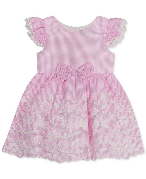 Rare Editions Baby Girls Embroidered Gingham Eyelet Dress