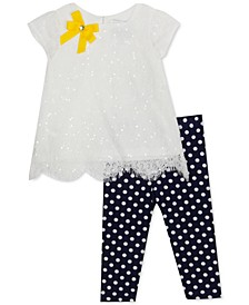 Baby Girls 2-Pc. Sequin Lace Top & Dot-Print Leggings Set