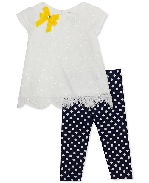 Rare Editions Baby Girls 2-Pc. Sequin Lace Top & Dot-Print Leggings Set