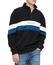 Men's Colorblocked Stripe 1/4-Zip Fleece Sweatshirt