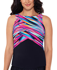 Reebok Wrapped In Perfection Printed High-Neck Tankini Top
