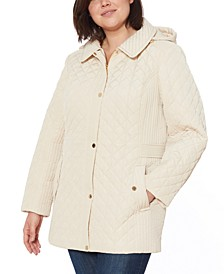 Plus Size Water-Resistant Quilted Hooded Jacket