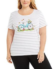 Karen Scott Plus Size Garden Bikes Embellished Cotton Top, Created for Macy's