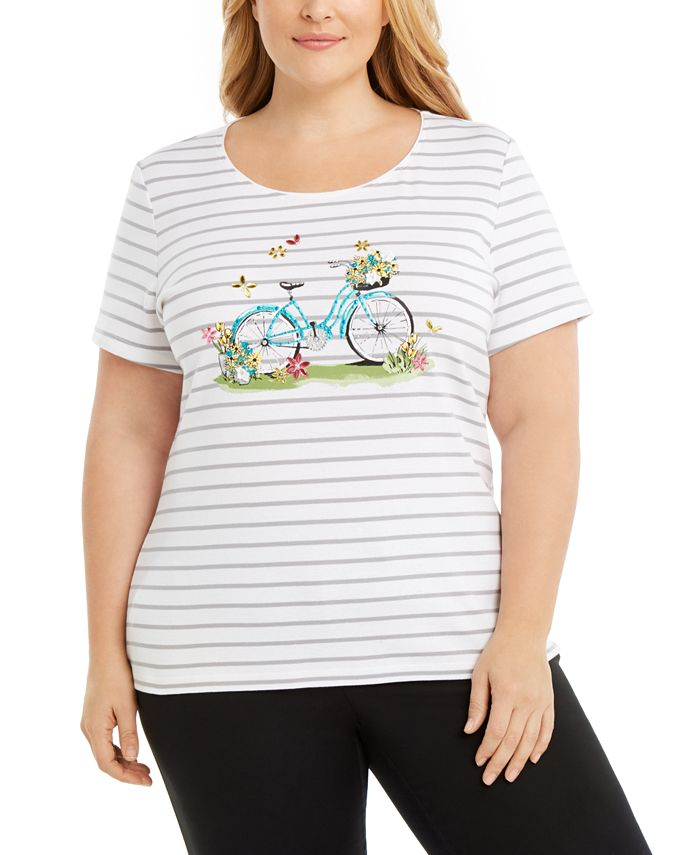 Karen Scott - Plus Size Garden Bikes Embellished Cotton Top
