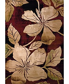 "Contours Floral Canvas 510 28834 69 Burgundy 5'3"" x 7'6"" Area Rug"