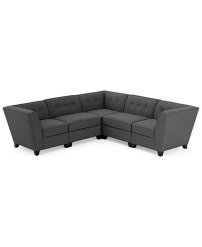 harper fabric 5 piece modular sectional sofa furniture With harper 5 piece fabric modular sectional sofa