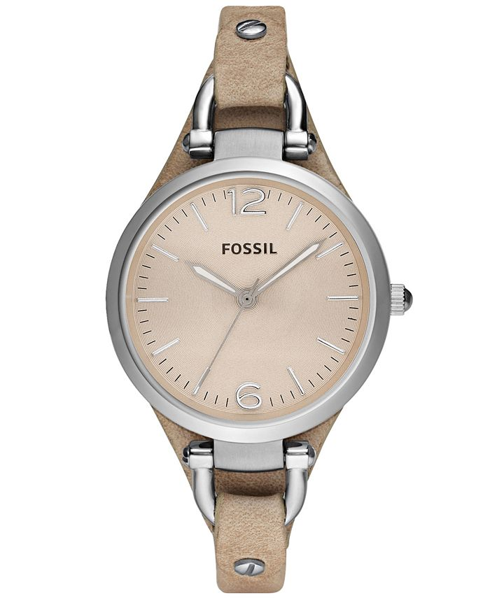 Fossil - Women's Georgia Sand Leather Strap Watch 32mm ES2830