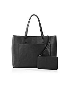 Vegan Saffiano Leather Tote And Clutch Set