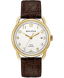 LIMITED EDITION Men's Swiss Automatic Joseph Bulova Brown Leather Strap Watch 38.5mm