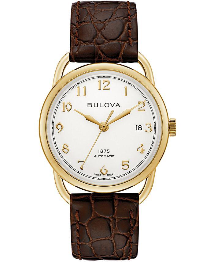 Bulova - Men's Swiss Automatic Joseph Brown Leather Strap Watch 38.5mm