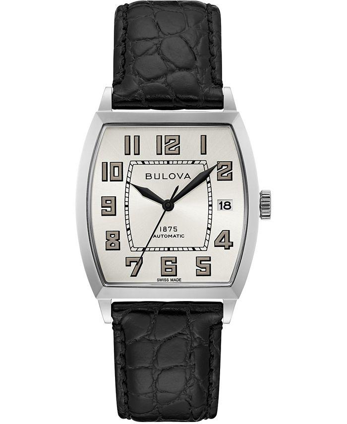 Bulova - Men's Swiss Automatic Joseph Black Leather Strap Watch 33x33.5mm