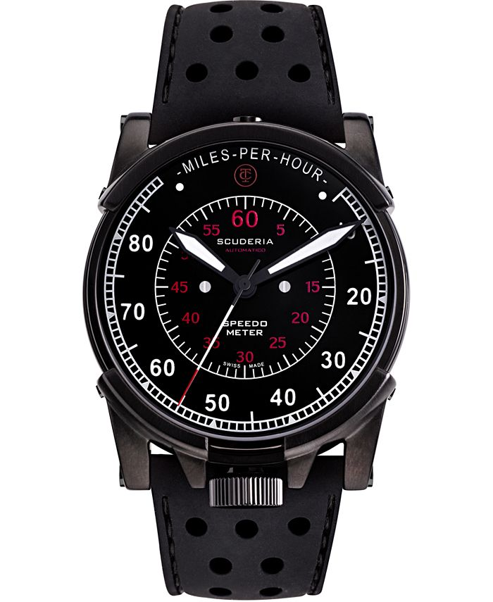 CT Scuderia - Men's Swiss Automatic Dashboard Black Silicone Strap Watch 44mm