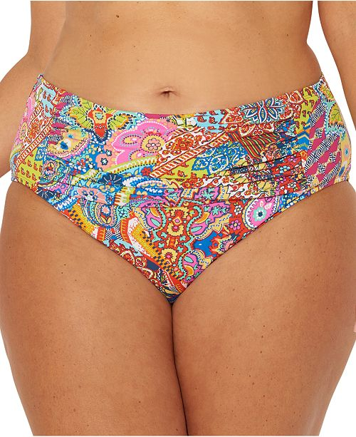 Bleu by Rod Beattie Plus Size Groovy Baby Printed Ruched Tummy-Control Bikini Bottoms