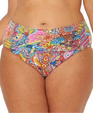 Bleu by Rod Beattie Plus Size Groovy Baby Printed Ruched Tummy-Control Bikini Bottoms Women's Swimsuit