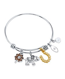 Clover, Elephant,And Horseshoe Charm Bangle BraceletIn Stainless Steel & Gold-Tone