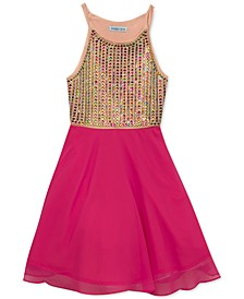 Big Girls Jeweled Chiffon Dress