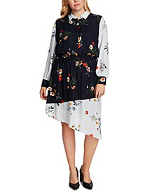 Plus Size Surreal Garden Asymmetrical-Hem Shirtdress