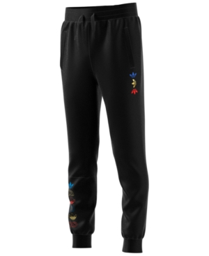 Adidas Originals ADIDAS BIG BOYS LOGO-PRINT FLEECE JOGGER PANTS
