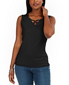 Triple-Keyhole Studded Tank Top, Created for Macy's