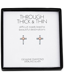 Diamond Accent Cross Stud Earrings in Sterling Silver & Rose Gold-Plate