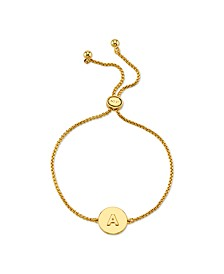 Coin Initial Gold Tone Bolo Bracelet