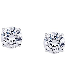 Cubic Zirconia Round Stud Earrings in Fine Silver Plate, 3 ct. t.w.