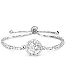 Cubic Zirconia Tree Of Life Adjustable Bolo Bracelet In Fine Silver Plate