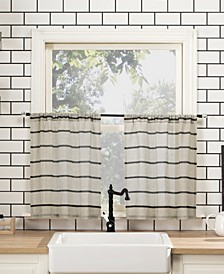 "Twill Stripe 52"" x 36"" Anti-Dust Cafe Curtain Set"