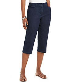 Button-Trim Capri Denim Pants, Created for Macy's
