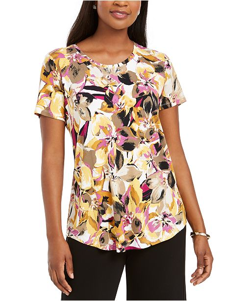 JM Collection Floral-Print Top, Created For Macy's