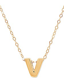 """Block Initial 17"""" Pendant Necklace in 14k Gold"""