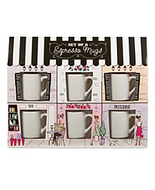 Boulevards of Paris Set of 6 Ceramic Espresso Mugs