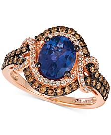Blueberry Tanzanite (1-1/2 ct. t.w.) & Diamond (3/4 ct. t.w.) Statement Ring in 14k Rose Gold