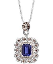 "Blueberry Tanzanite (2 ct. t.w.) & Diamond (3/4 ct. t.w.) 18"" Pendant Necklace in 14k White Gold"