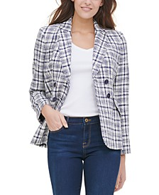 Plaid-Print Double-Breasted Blazer