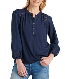 Eyelet-Detail Henley Top