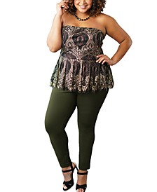 Plus Size Strapless Lace Peplum Top