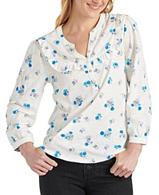 Cotton Printed Ruffled Henley Top