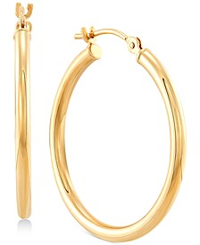 Small Polished Tube Hoop Earrings in 14k Gold